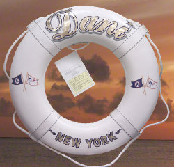 Life ring lettering and burgees to match your yacht motif